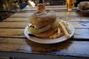 Barramundi burger at Daly Waters Pub, Australia