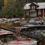Cars and abandon house